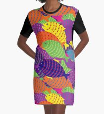 colored fish Graphic T-Shirt Dress