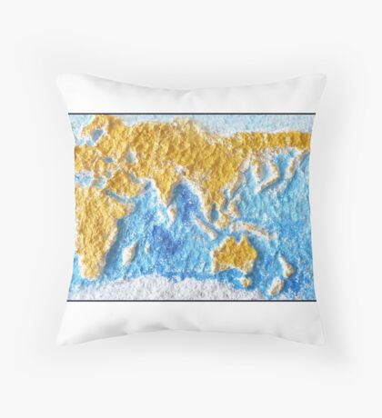 World Map - Recycled Throw Pillow