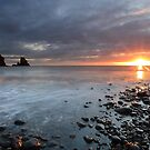 Talisker Bay and Spikes from the setting Sun by Maria Gaellman