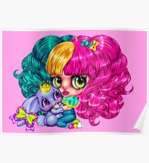 Kawaii little emo girl with princess bunny Poster