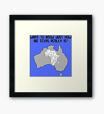 The real size of Texas! Framed Print