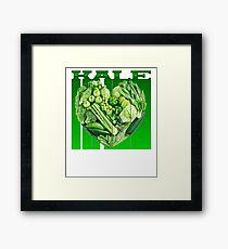 Retro heart 80s Kale University Funny Vegan Framed Print