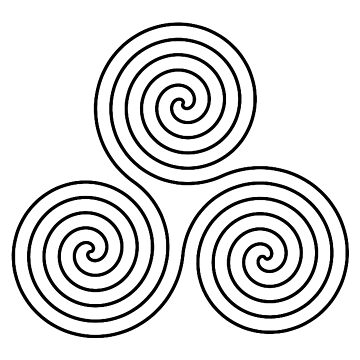 Triple Goddess, symbol, Neolithic, triple, spiral, symbol, Neo, Pagan, BLACK on WHITE by TOMSREDBUBBLE