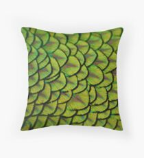 Peacock Iridescent Shiny Yellow Tail Feathers Pattern Throw Pillow