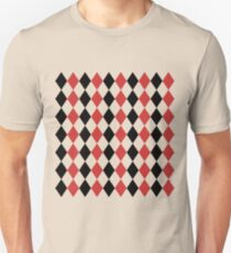 Red, black, white, rhombus pattern, geometric design Unisex T-Shirt