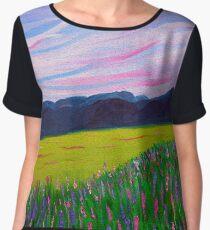 Sweet Calm 2, impressionism lavender field Chiffon Top