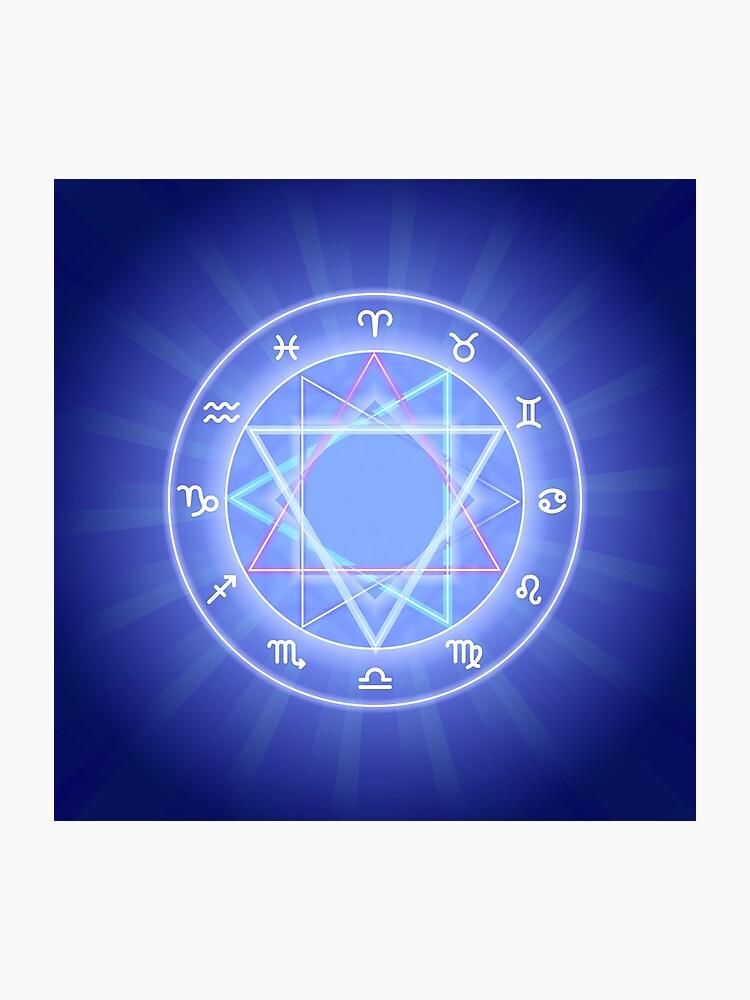 Zodiac circle, glowing Zodiac signs set on dark blue | Photographic Print