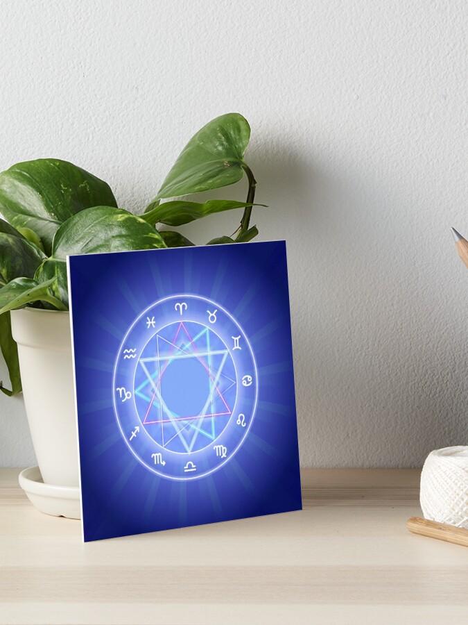 Zodiac circle, glowing Zodiac signs set on dark blue | Art Board Print