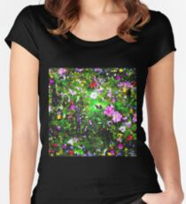 Stained Glass Wildflowers 1 by IdeaJones Women's Fitted Scoop T-Shirt