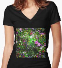 Stained Glass Wildflowers 1 by IdeaJones Women's Fitted V-Neck T-Shirt
