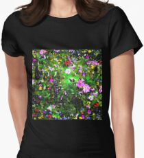 Stained Glass Wildflowers 1 by IdeaJones Womens Fitted T-Shirt