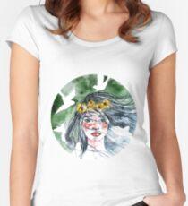 Watercolor girl portrait Women's Fitted Scoop T-Shirt