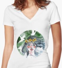 Watercolor girl portrait Women's Fitted V-Neck T-Shirt