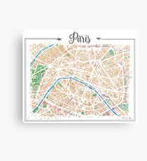 Watercolor map of Paris Metal Print