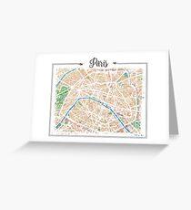 Watercolor map of Paris Greeting Card