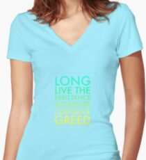 Resistance, Corporate Greed Protest Shirt Women's Fitted V-Neck T-Shirt