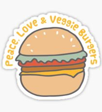 Peace, Love & Veggie Burgers Sticker