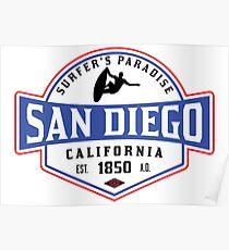 SURFING SAN DIEGO SURF CALIFORNIA SURFER'S PARADISE BEACH SURFBOARD Poster