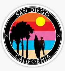 SURFING SAN DIEGO SURF CALIFORNIA SURFER'S PARADISE BEACH SURFBOARD 2 Sticker
