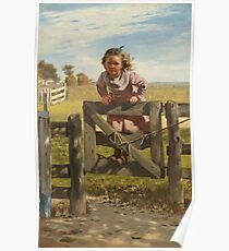 John George Brown - Swinging On A Gate Poster