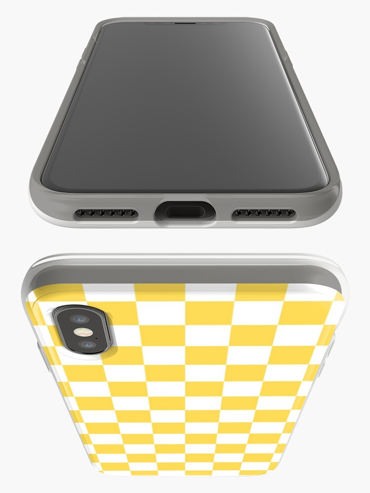 Alternate view of Mustard Yellow And White Checkerboard Pattern iPhone Case & Cover