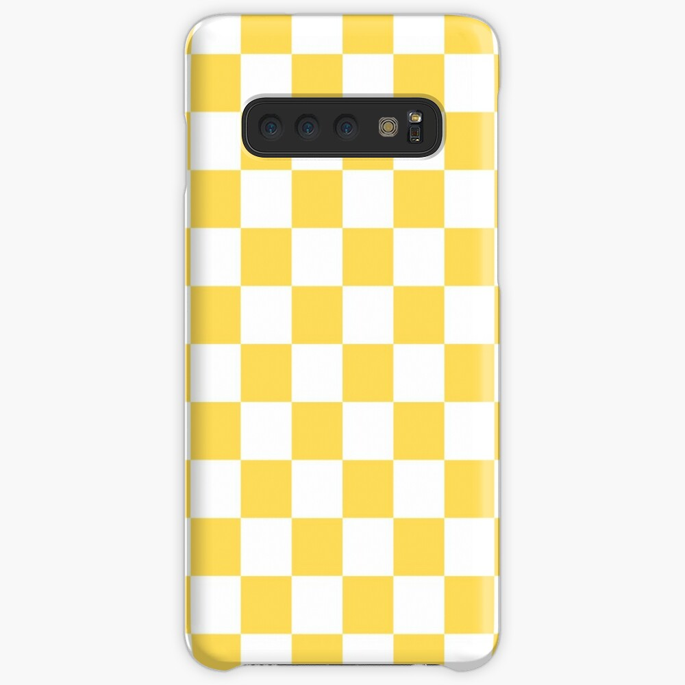 Mustard Yellow And White Checkerboard Pattern Case & Skin for Samsung Galaxy