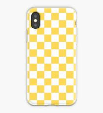 Mustard Yellow And White Checkerboard Pattern iPhone Case