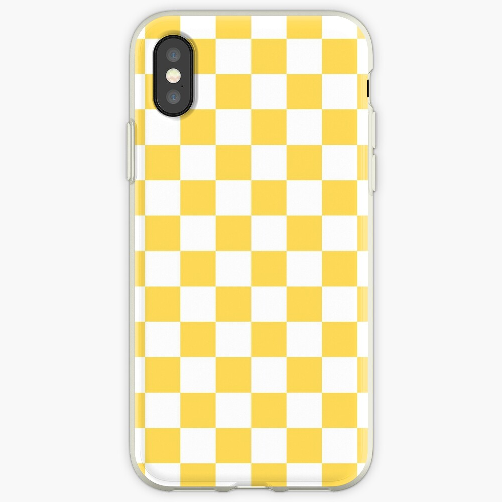 Mustard Yellow And White Checkerboard Pattern iPhone Case & Cover