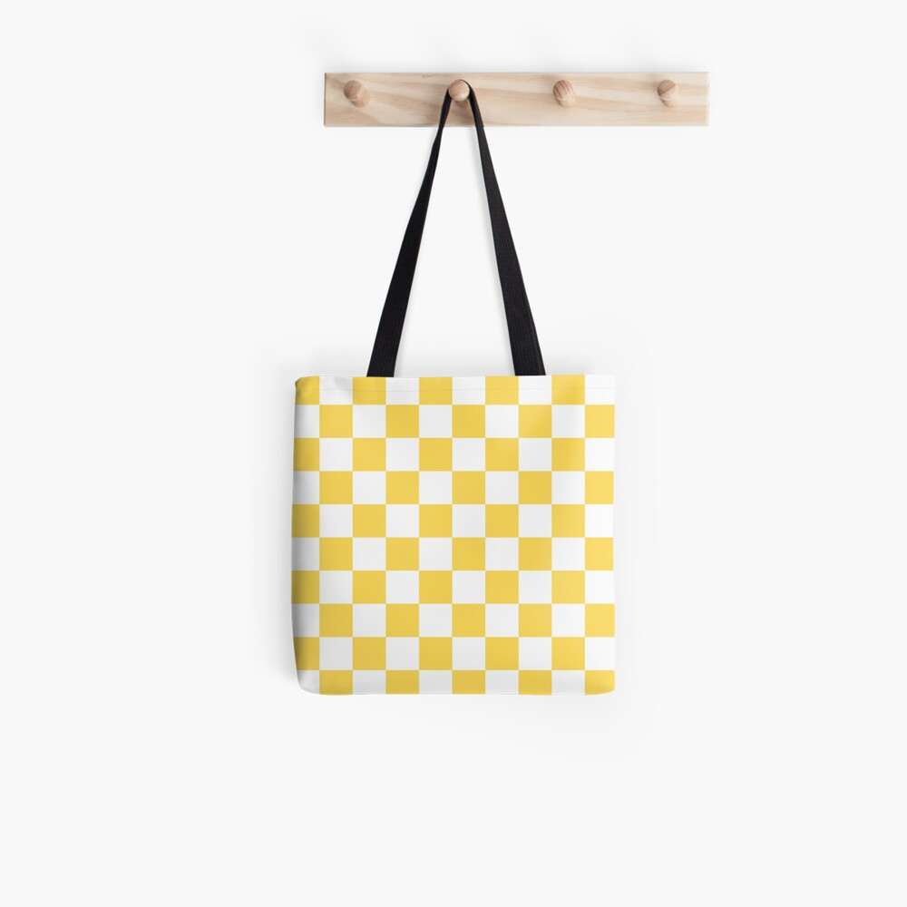 Mustard Yellow And White Checkerboard Pattern Tote Bag