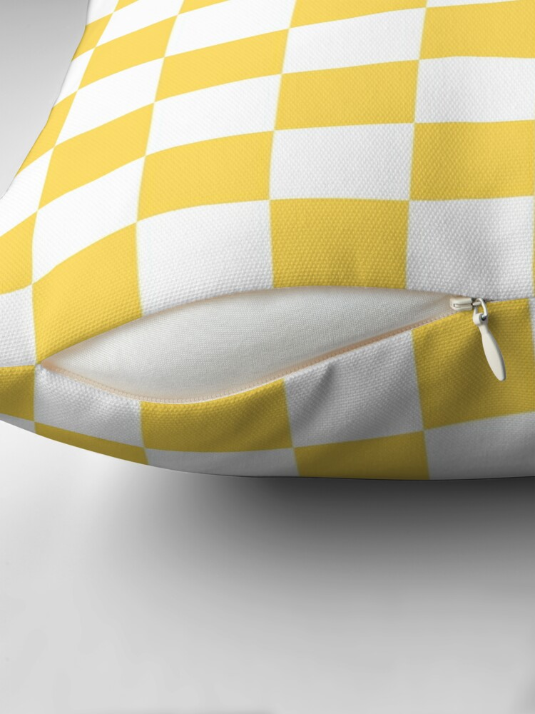 Alternate view of Mustard Yellow And White Checkerboard Pattern Throw Pillow