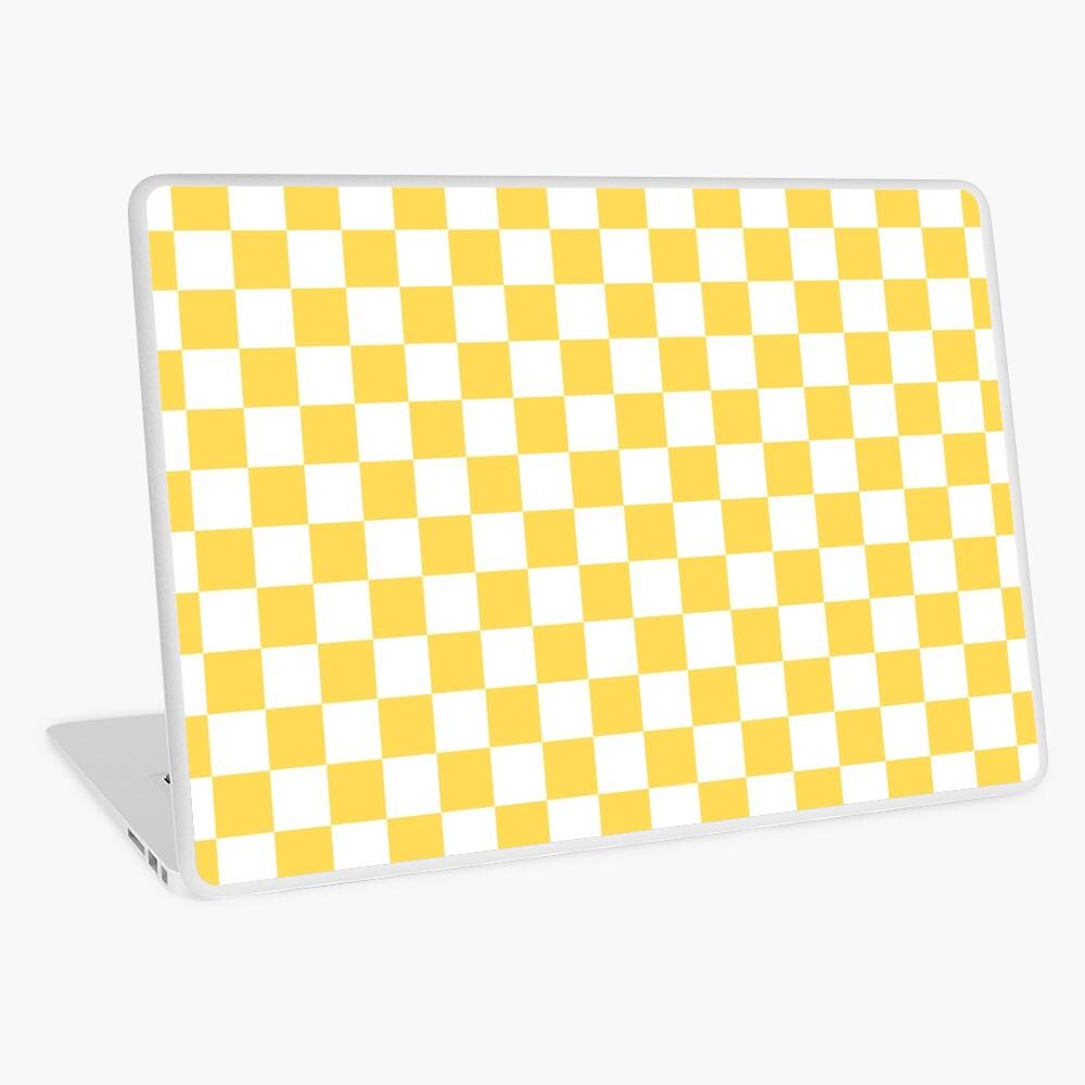 Mustard Yellow And White Checkerboard Pattern Laptop Skin