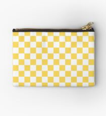 Mustard Yellow And White Checkerboard Pattern Studio Pouch