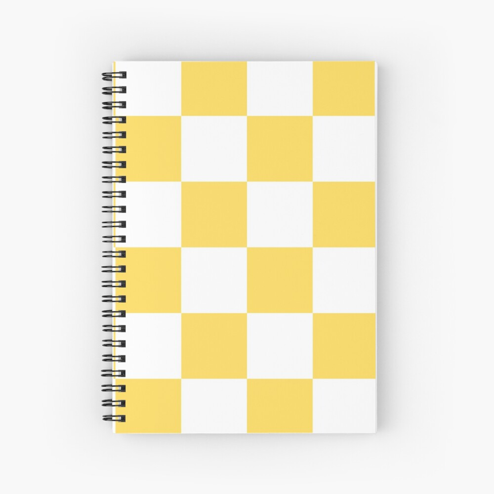 Mustard Yellow And White Checkerboard Pattern Spiral Notebook