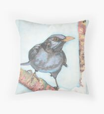 Black Bird Print in winter - Watercolor and sumi ink blackbird Throw Pillow