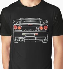 Camiseta gráfica Nissan GTR R34 Blanco