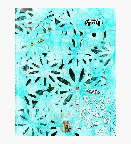 Daisy Art In Teal And Black Photographic Print