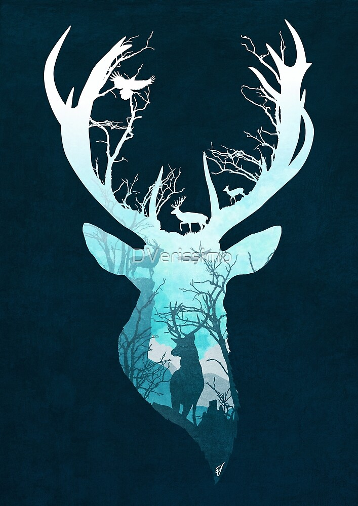 Deer Blue Winter by DVerissimo