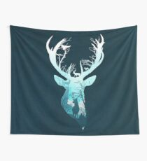 Deer Blue Winter Wall Tapestry