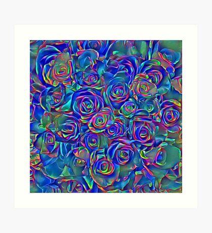 Roses of cosmic lights Art Print