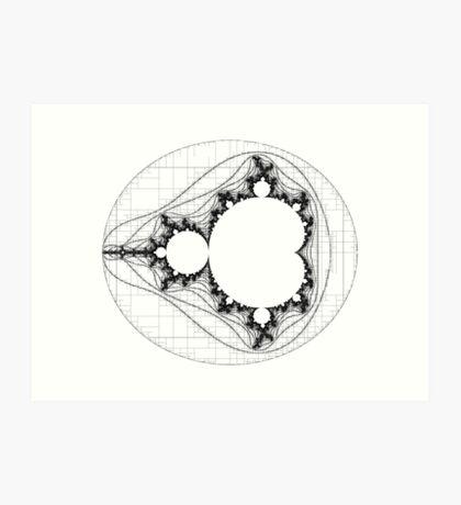 Black - Linear Mandelbrot  Art Print