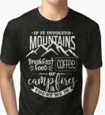 Mountains Breakfast Coffee and Campfires Tri-blend T-Shirt