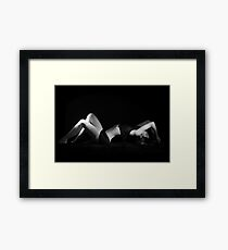 Girl laying low key  Framed Print