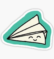 Happy Paper Plane on Teal Sticker