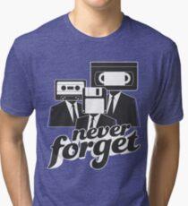 Never Forget Retro Cassette Floppy VHS Tri-blend T-Shirt