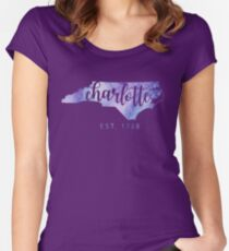 Charlotte, North Carolina (Purple)  Women's Fitted Scoop T-Shirt