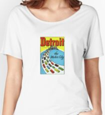 Detroit The Motor City Vintage Travel Decal Women's Relaxed Fit T-Shirt