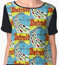Detroit The Motor City Vintage Travel Decal Chiffon Top