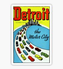 Detroit The Motor City Vintage Travel Decal Sticker