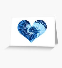 Blue Tie Dye Heart Greeting Card