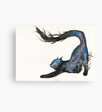 Galaxy Aurora Mountain Cat Canvas Print